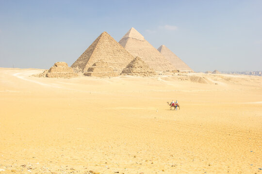 Panoramic View Of The Great Pyramids Of Giza, From The Sahara Desert