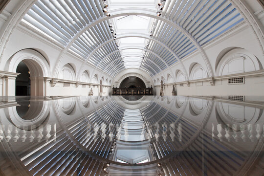 Reflection of museum dome in glass surface