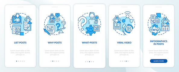 Obraz Top buzzworthy posts types onboarding mobile app page screen. Lists, what-posts walkthrough 5 steps graphic instructions with concepts. UI, UX, GUI vector template with linear color illustrations - fototapety do salonu