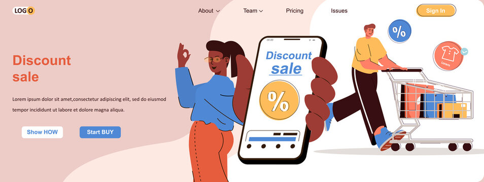 Discount sale web concept. Online shopping with the best offers in mobile app scene. Banner template with flat line characters design. Vector illustration for social media promotional materials