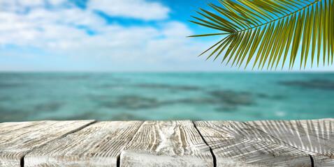 Summer background of wooden desk and sea landscape
