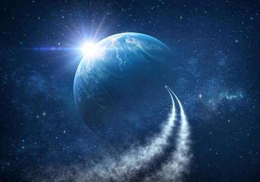 Spaceships traveling into deep space, exploring Universe, stars constellations and nebulas. Comets in outer space reaching planet Earth.