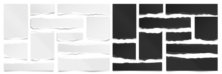 Obraz Ripped black and white paper strips. Realistic paper scraps with torn edges. Sticky notes, shreds of notebook pages. Vector illustration. - fototapety do salonu