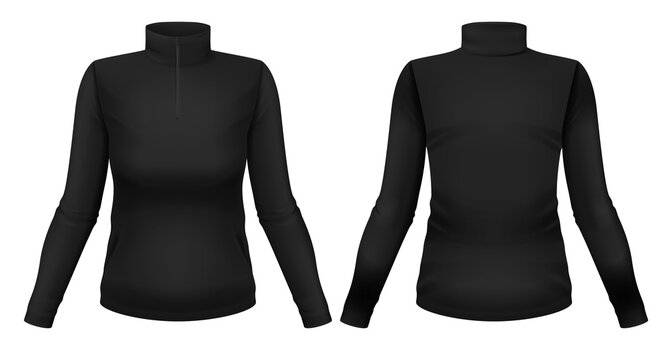 Blank black long sleeve shirt with collar template. Front and back views. Photo-realistic vector illustration.