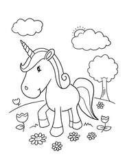 Cute Unicorn Coloring Book Page Vector Illustration Art