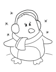 Cute Holiday Penguin Coloring Book Page Vector Illustration Art