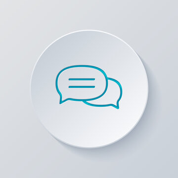 Speech bubbles, chat messages, text clouds, simple icon. Cut circle with gray and blue layers. Paper style