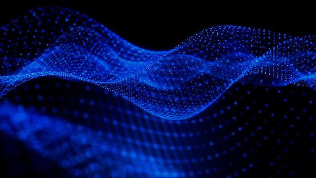 Big Data Concept. Blue, Futuristic Digital Style. 3D Render.
