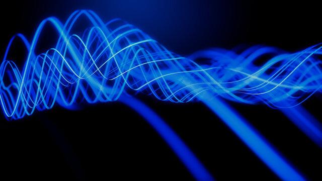 Data Transfer Concept. Blue, Futuristic Digital Style. 3D Render.
