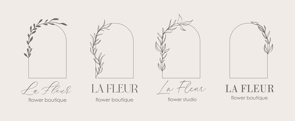 Obraz Logo design template and monogram concept in trendy linear style with arch - floral frame with copy space for text or letter - emblem for fashion, beauty and jewellery, Wedding invitation, socia. - fototapety do salonu
