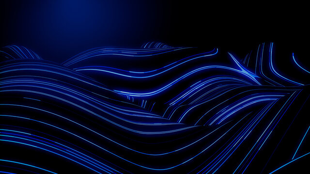 Sound Wave and Audio Technology Concept. Blue, Futuristic Digital Style. 3D Render.