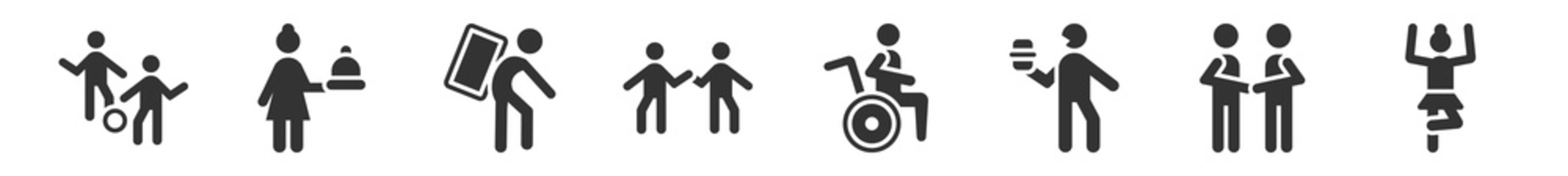 filled set of humans icons. glyph vector icons such as playing with a ball, woman cooking, carrying on back, high five, wheel chair, gymnastics. vector illustration.