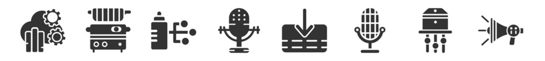 Obraz filled set of technology icons. glyph vector icons such as cloud analysis, fryer, wi connection, big old microphone, receive, modern horn. vector illustration. - fototapety do salonu