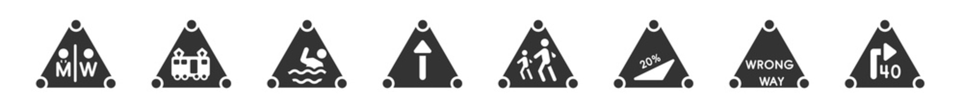 filled set of traffic signs icons. glyph vector icons such as wc, tram, swimming, straight, school ahead, turn with advisory speed. vector illustration.