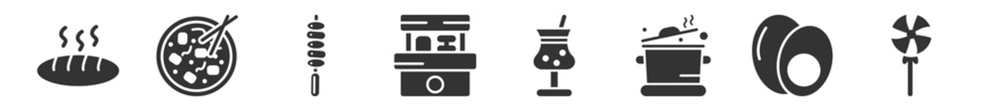 filled set of food icons. glyph vector icons such as baguette, mapo tofu, brochette, snack booth, half filled cocktail glass, lollypop. vector illustration.