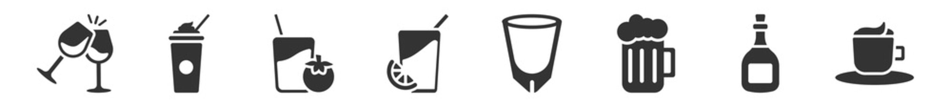 filled set of drinks icons. glyph vector icons such as wine toast, frappuccino, tomato juice, fruit juice, white russian drink, espresso. vector illustration.