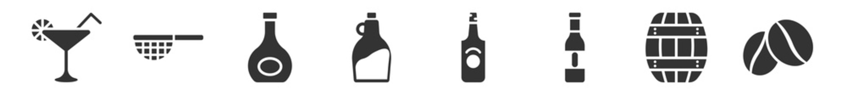 filled set of drinks icons. glyph vector icons such as cosmopolitan, sieve, armagnac, tuba, malibu, coffee bean. vector illustration.