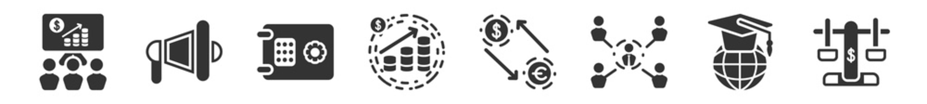 filled set of digital economy icons. glyph vector icons such as presentation, advertising, safebox, profits, exchange, balance. vector illustration.