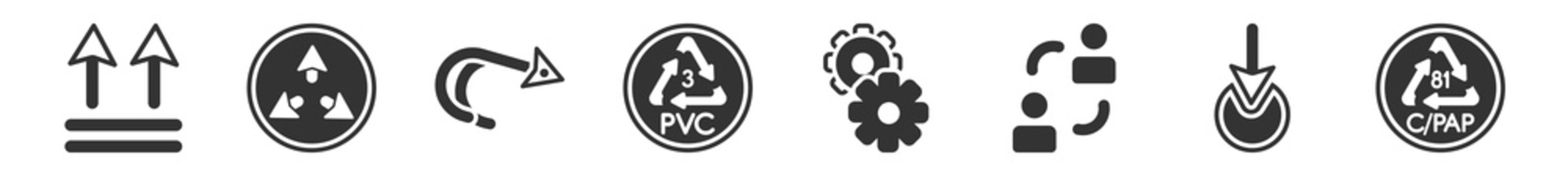filled set of user interface icons. glyph vector icons such as up side, expand arrows, curve right arrow, 3 pvc, mechanic tool, c/pap 81. vector illustration.