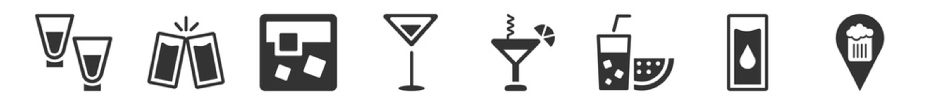 filled set of drinks icons. glyph vector icons such as shots, cheers, white russian drink, 007 martini, lagoon, pub. vector illustration.