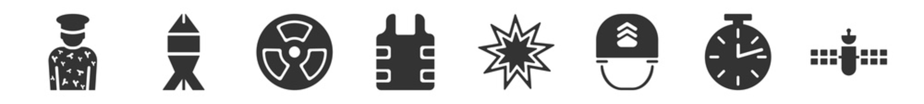 filled set of army icons. glyph vector icons such as conscription, depth charge, nuclear, bulletproof, explosion, military satellites. vector illustration.