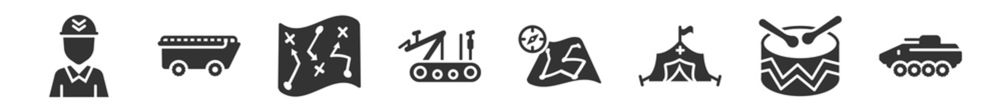 filled set of army icons. glyph vector icons such as militar, amphibian, militar strategy, military robot machine, map and compass, military vehicle. vector illustration.