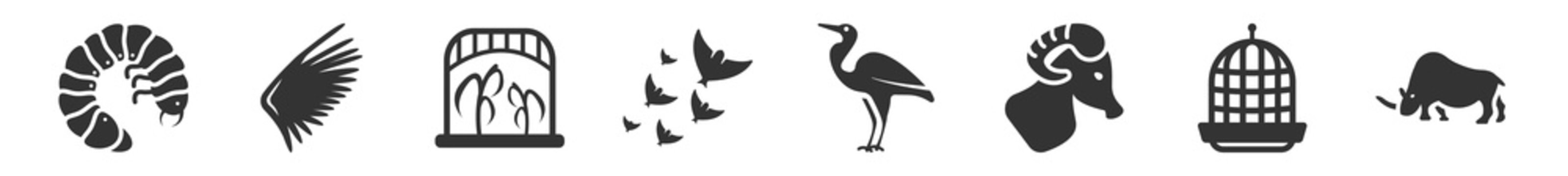 filled set of animals icons. glyph vector icons such as grub, wing, herpetarium, flock of birds, heron, coelodonta. vector illustration.