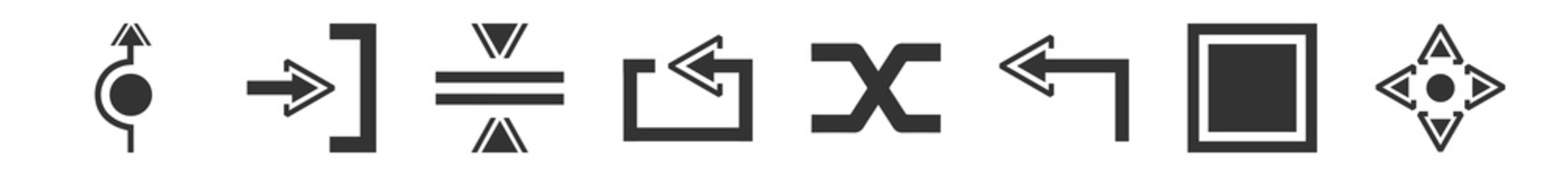 filled set of arrows icons. glyph vector icons such as roundabout, exit right, horizontal merge, looping arrow, suffle, move. vector illustration.