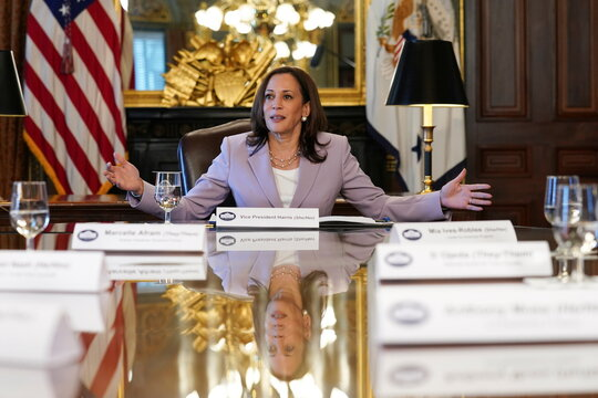 U.S. Vice President Harris holds a conversation with LGBTQ stakeholders marking Pride Month in Washington