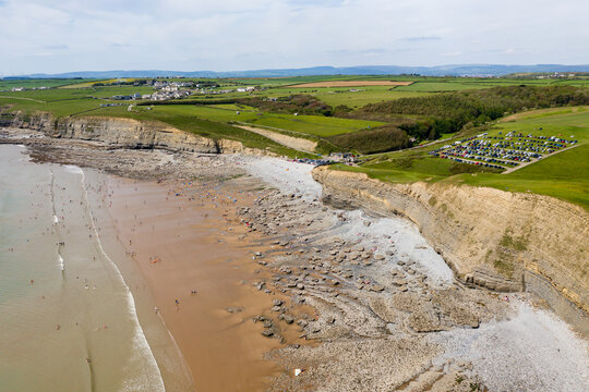 Aerial view of Southerndown Beach, Wales, UK