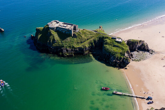 Aerial view of St Catherine's Island and beach at Tenby, Wales