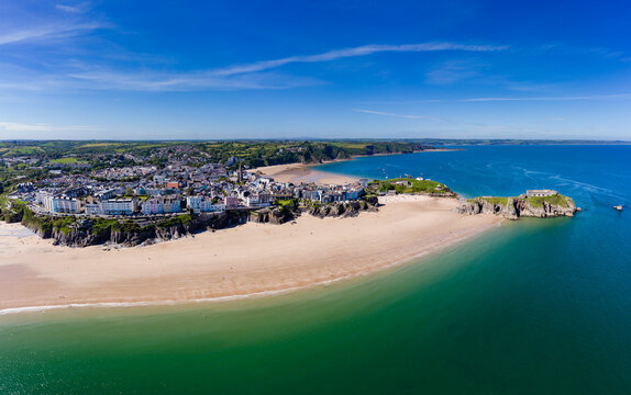 Aerial view of the beach and coastline of Tenby, Wales
