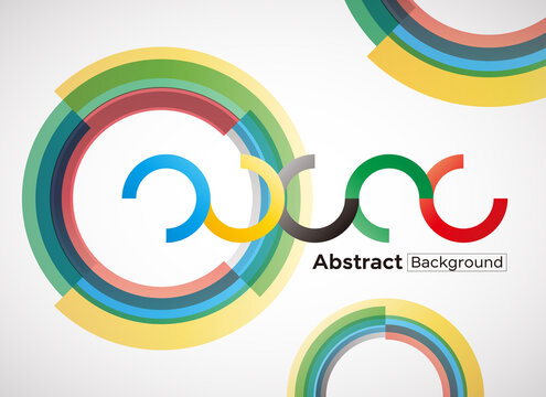 abstract vector background with colorful gradient circles, olympic color concept.