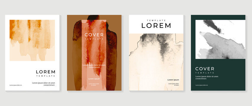 Creative cover design vector set. Watercolor book cover design, Abstract art design with colorful watercolor background. Can be use for poster, wall arts, magazine,  brochure , banner and website.