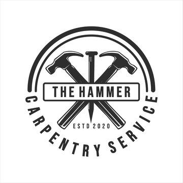 carpentry logo vintage vector illustration template icon design. hammer and steel nails logo for professional carpenter company concept emblem design