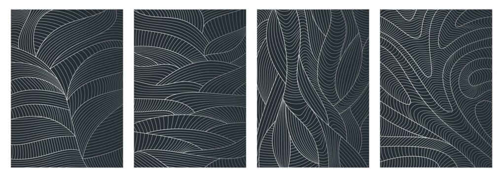 Set of abstract wavy backgrounds. Line pattern with waves texture