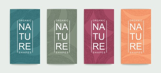 Set of covers with pattern of organic lines and shapes. Natural hand painted linear design. Minimalistic trendy style. Vector graphics