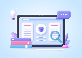 Obraz Concept of e-learning, online education at home.  3d realistic vector illustration. - fototapety do salonu