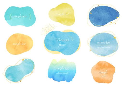 サマーカラーの水彩のアブストラクトなベクターイラストフレーム(夏)