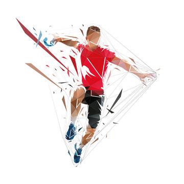 Handball player throwing ball, low polygonal vector illustration