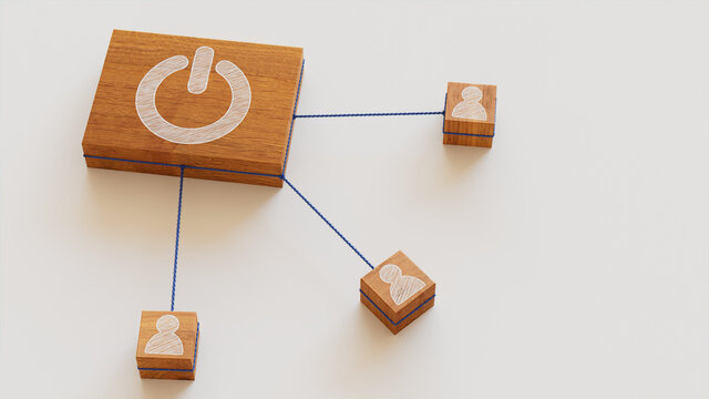 Activate Technology Concept with power Symbol on a Wooden Block. User Network Connections are Represented with Blue string. White background. 3D Render.