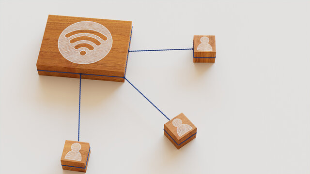 Wireless Technology Concept with wifi Symbol on a Wooden Block. User Network Connections are Represented with Blue string. White background. 3D Render.