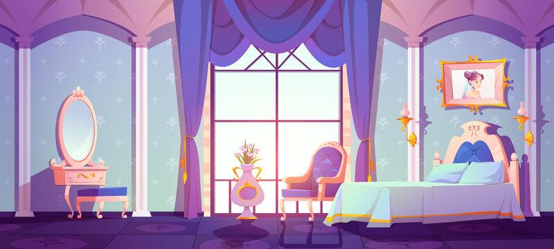 Princess royal bedroom, vintage room interior with elegant retro furniture, bed, cupboard, floral pattern wallpaper decor. Cartoon vector illustration