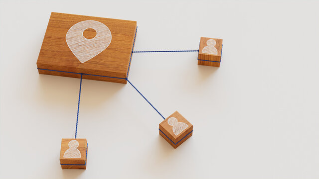 Location Technology Concept with map pin Symbol on a Wooden Block. User Network Connections are Represented with Blue string. White background. 3D Render.