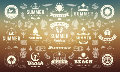 Fototapeta Summer labels and badges design set retro typography for posters and t-shirts obraz