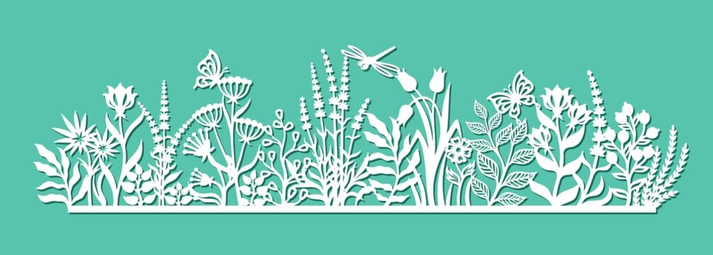 Decorative panel with flowers. Summer meadow with grass, leaves, buds, berries, herbs, butterflies, dragonflies. Vector template for plotter laser cutting of paper, metal, plywood, wood carving, cnc.