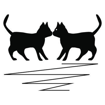 fighting black cat silhouette design