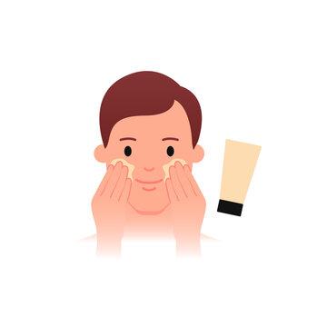 Men's skin care - moisturizing. Flat style.