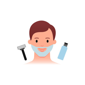 Men's skin care - shaving daily routine. Flat style.