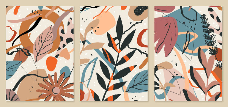 Botanical background templates. Abstract tropical leaves illustrations. Trendy mid century art, boho home decor, abstract floral wall art.